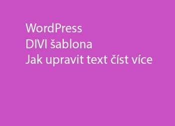 DIVI theme jak upravit text read more